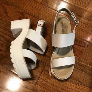 White Vegan Leather Platform Sandals